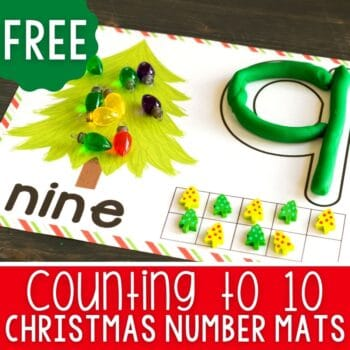 FREE Christmas Tree Play Dough Number Mats for numbers 1-10 for preschool math activities
