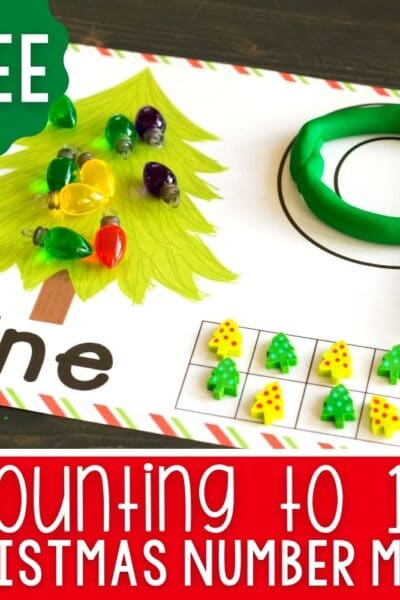 Printable Christmas Tree Play Dough Number Mats