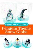 Penguin snow globe craft.