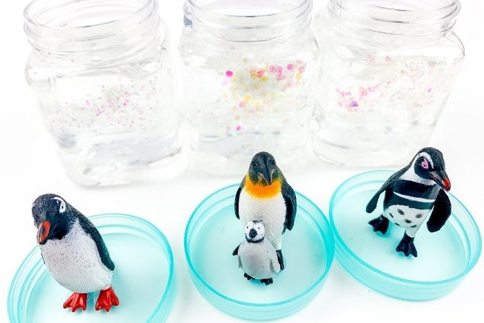 Penguins in lids to make snow globes.