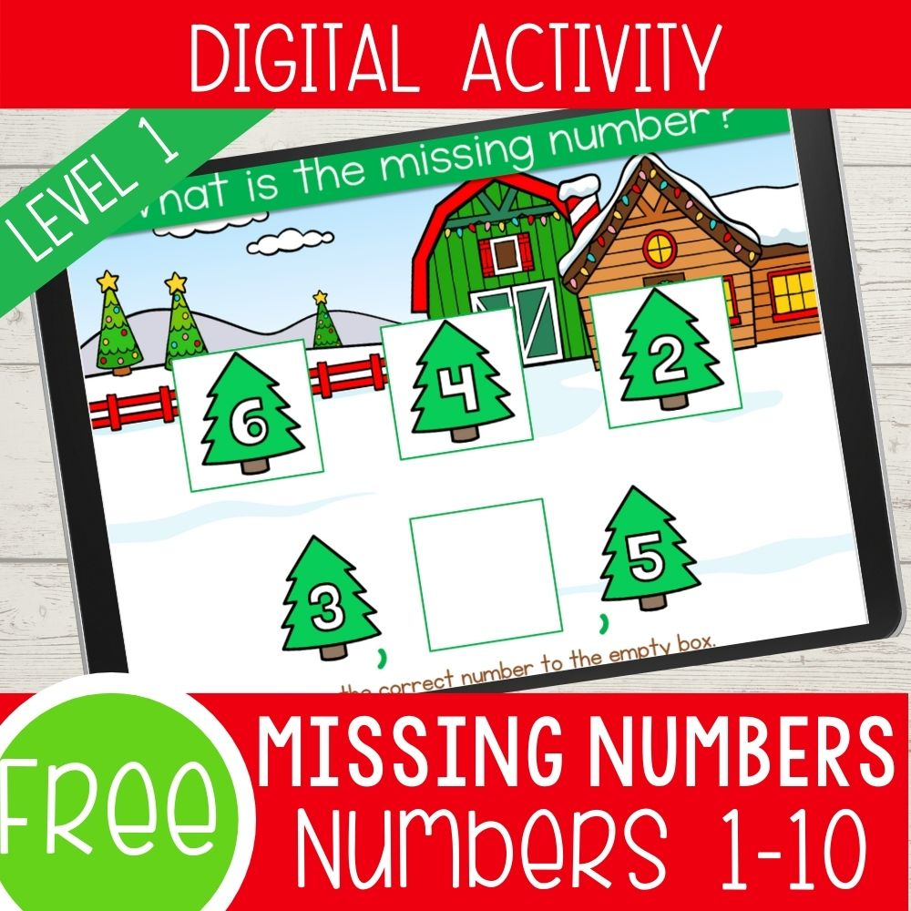 Christmas Missing Number Level 1 Numbers 1-10