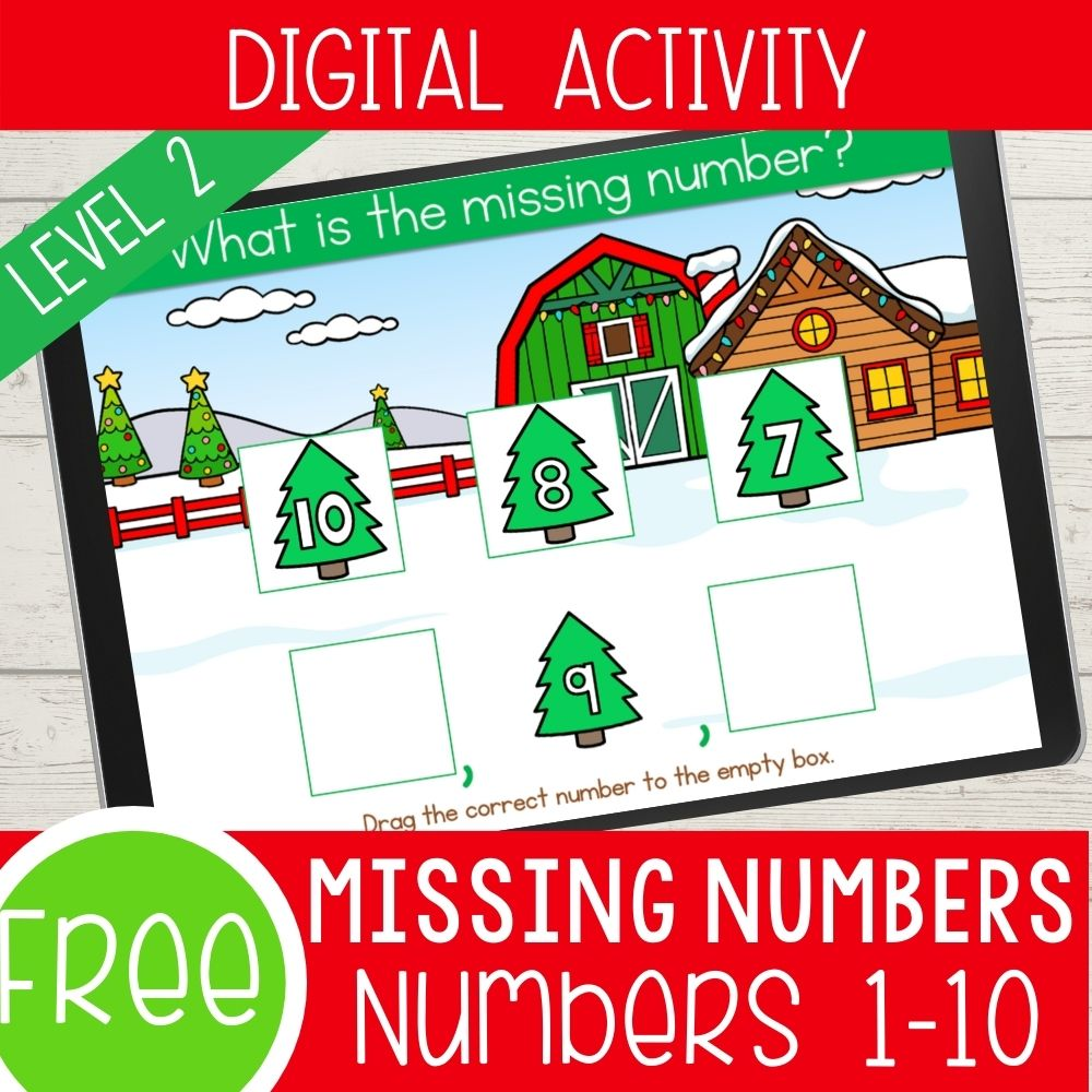 Christmas Missing Number Level 2 1-10