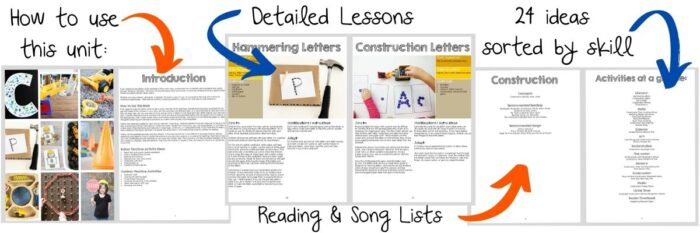 Detailed description of what's included in the construction preschool lesson plan.