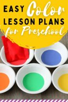 Easy Color Lesson Plans For Preschool pinterest image.