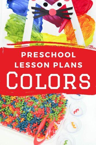 Colors Preschool Lesson Plans pinterest image.