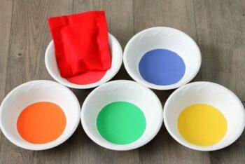 5 bowls of paint for a preschool color activity,
