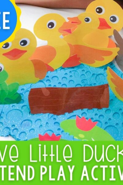 Five Little Ducks Play Dough Pretend Play free printable for preschool sensory play featured square image.