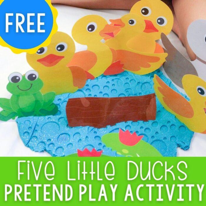 Five Little Ducks Play Dough Pretend Play free printable for preschool sensory play