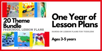 Preschool lesson plans bundle banner.