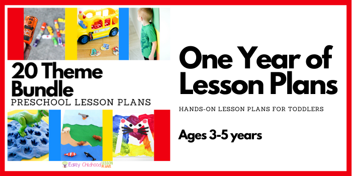 Preschool lesson plans bundle banner.
