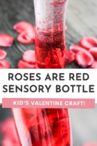 Roses are red sensory bottle craft.