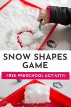 Snow Shapes Game Free Preschool Activity