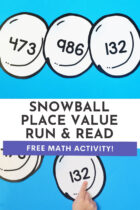 Snowball Place Value Run and Read Math Activity