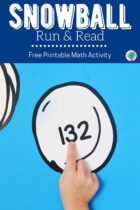 Free Printable Snowball Run and Read Math Activity