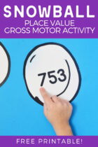Free Printable Snowball Place Value Gross Motor Activity