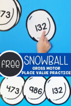 Free Snowball Gross Motor Place Value Practice