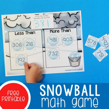 Snowball Math Game square featured image.