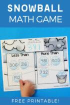 Snowball Math Game Free Printable