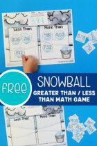 Free Snowball Greater Than / Less Than Math Game