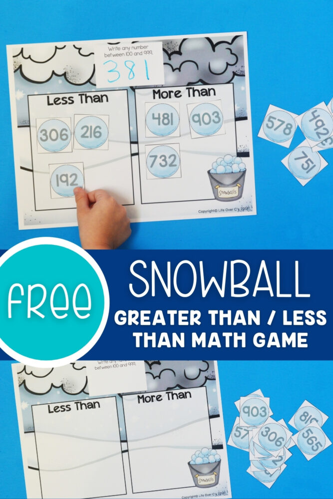 Free Printable Snowball Math Game Greater Than Less Than - View Kindergarten Greater Than Less Than Worksheets With Answers Pictures