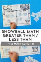 Free Snowball Greater Than / Less Than Math Activity