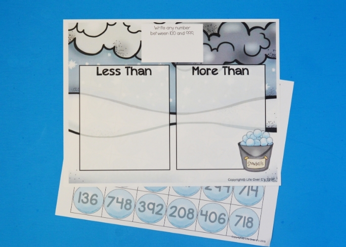 The free printable sheets for the Snowball Math Game.