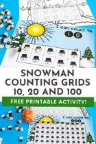 Snowman Counting Grids Free Printable Activity