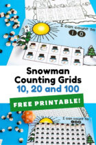 Snowman Counting Grids Free Printable