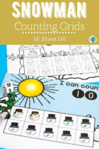 Free Snowman Counting Grids For 10, 20 and 100