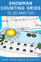 Snowman Counting Grids For 10, 20 and 100