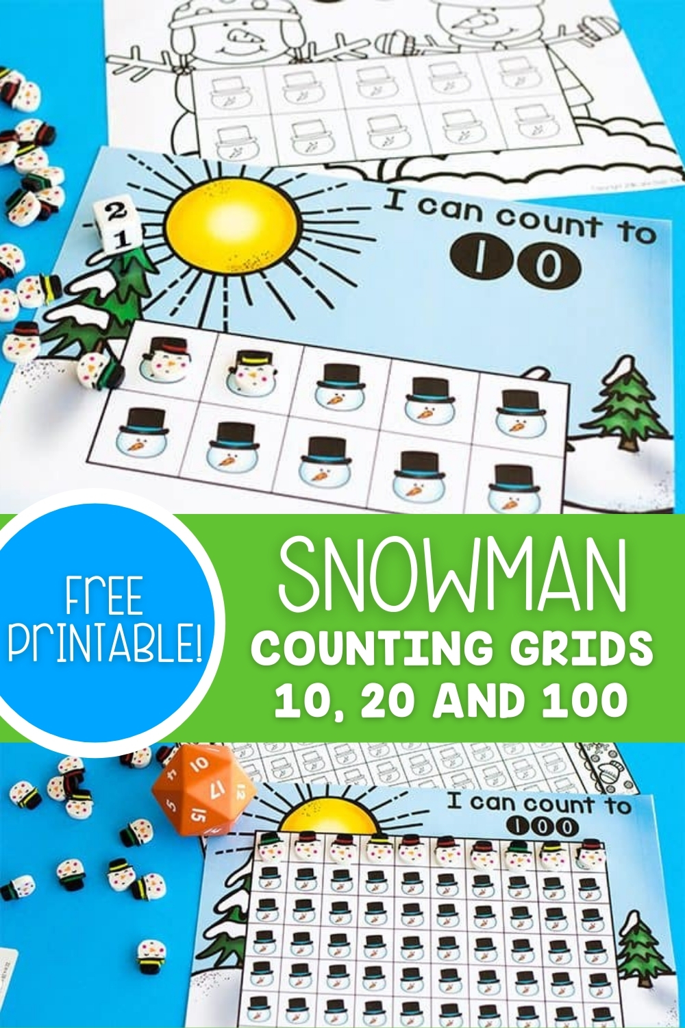 Free Printable Snowman Counting Grids