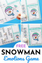 Printable snowman emotions board game.