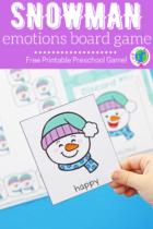 Snowman emotions board game for preschoolers.