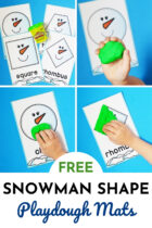 Free Winter Snowman Shape Playdough Mats
