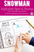Free Printable Snowman Alphabet Spin and Stamp Activity