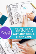 Free Snowman Alphabet Spin and Stamp Game