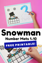 Snowman Number Mats 1-10 Free Printable