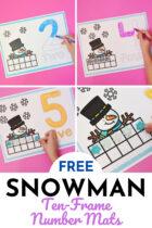 Free Snowman Ten-Frame Number Mats