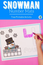 Snowman Number Mats Free Printable Activity