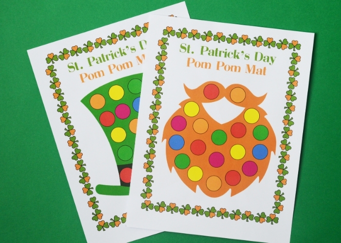 Free printable St Patrick's Day color matching mats with a leprechaun hat and a beard on them.