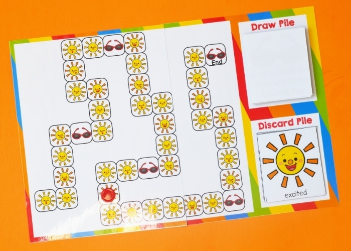 Overhead view of the sun themed emotions board game.