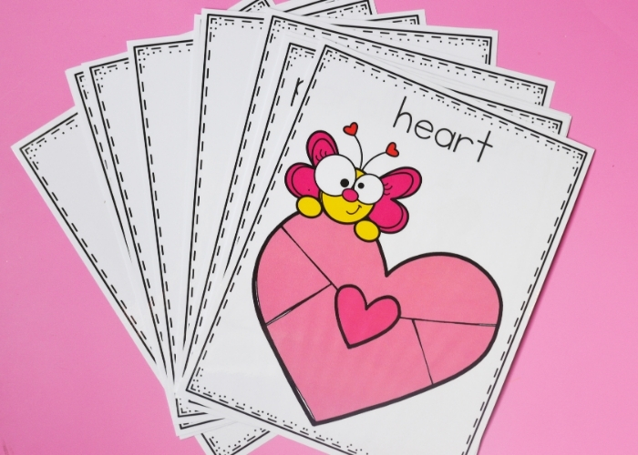 The free Printable Valentine's Day Shapes Posters fanned out.