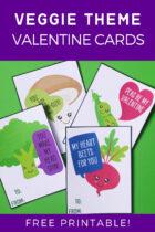 Free Printable Veggie Theme Valentine Cards