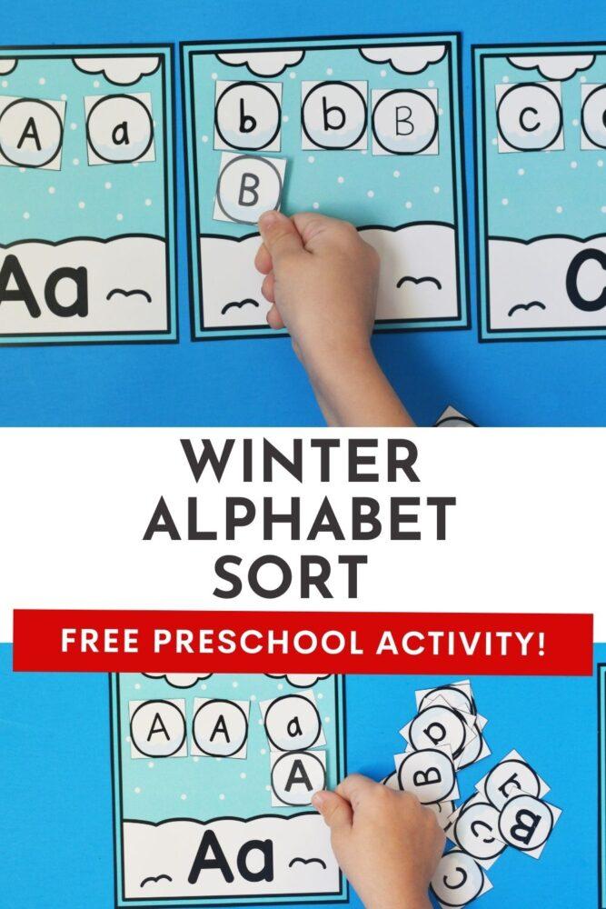 Free Preschool Winter Alphabet Sort Activity