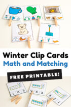 Winter Clip Cards Math and Matching