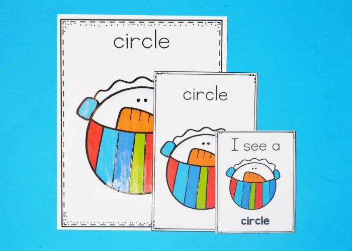 "The free Printable Winter Theme Shapes Posters for the ""circle"" shape."
