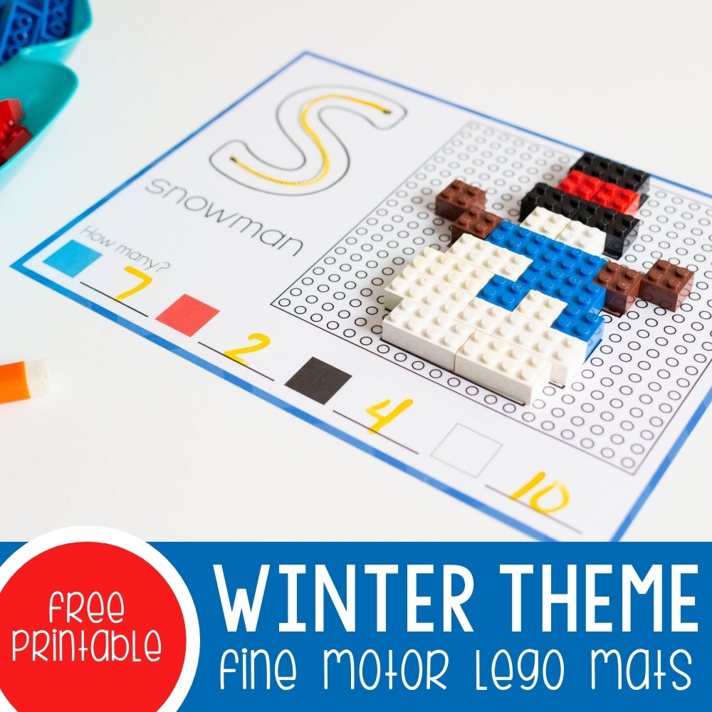 Winter Theme Fine Motor Lego Mats square featured image.