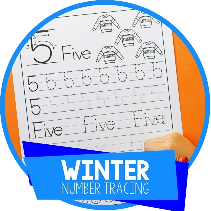 Winter Preschool Number Tracing Worksheets Featured Image