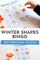 Winter Shapes Bingo Free Preschool Activity