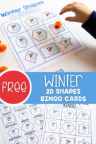 Free Winter 2D Shapes Bingo Cards